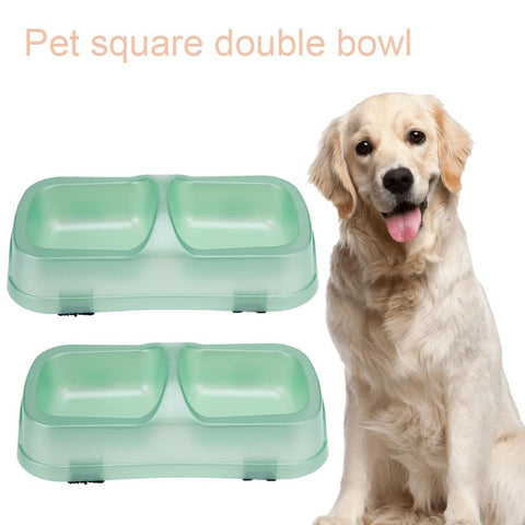 Dog Double Bowl Pet puppy Cat Feeders Water Dispenser Plastic Square  Anti Overflow  Dog Feeding Bowls Supplies