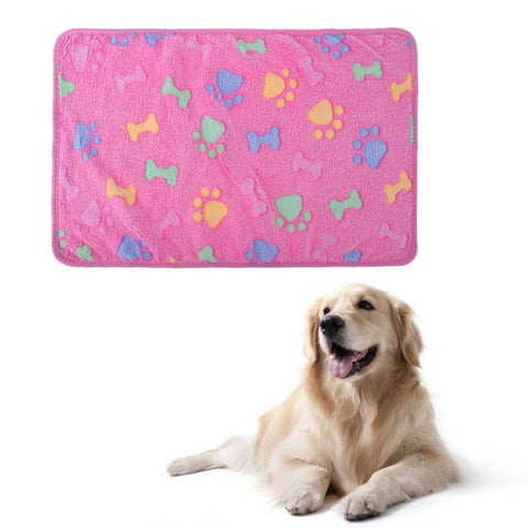 Soft  Coral velvet Pet Sleep Warm Paw Print Dog Cat Puppy Fleece Soft Blanket Beds Mat S/M