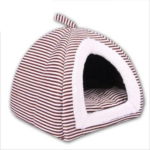 Stripe Pattern Puppy Pets Dog Cat Bed House Super Warm Soft Dog Mongolian Yurts Dog Kennel Animal House Pet Products