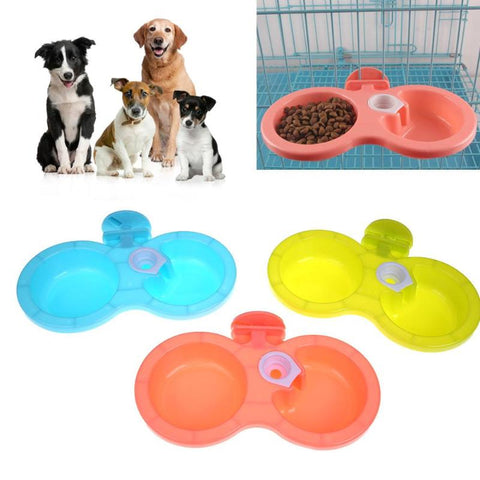 Portable Pet Feeder Plastic Dual Port Automatic Feeder Water Drinking Feeding Hanging Bowls For Cats Pet Dogs without Bottle