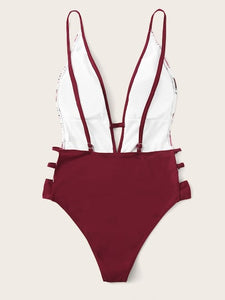 Cut out Plunge leaf swimsuit red