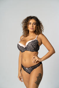 Black/ Cream Padded Swirl Lace Bra