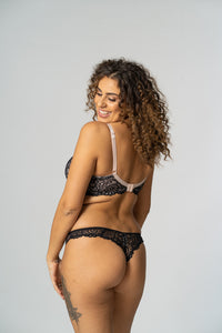 Black/ Cream Swirl lace Thong