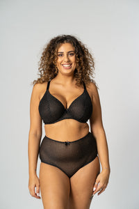 Black Glitter High waisted Brief