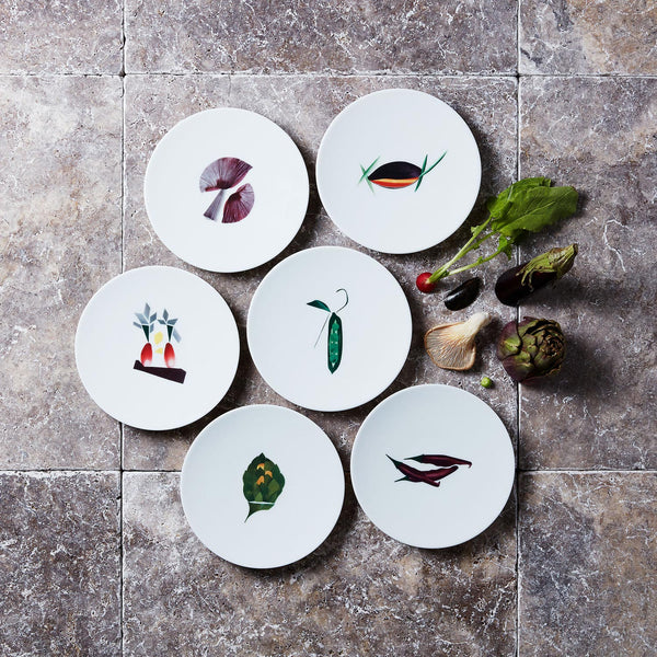 Collection d'assiettes à pain en porcelaine de Limoges Dame Nature, l'art de la table français