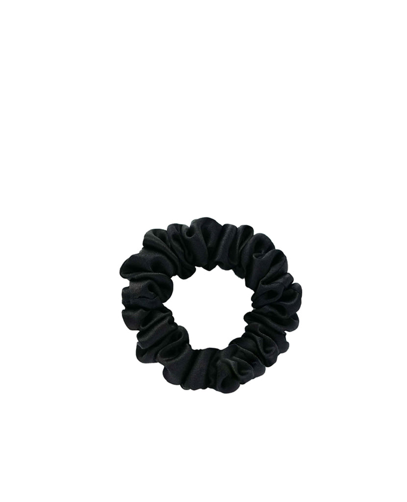 Small Silk Scrunchie Midnight Black