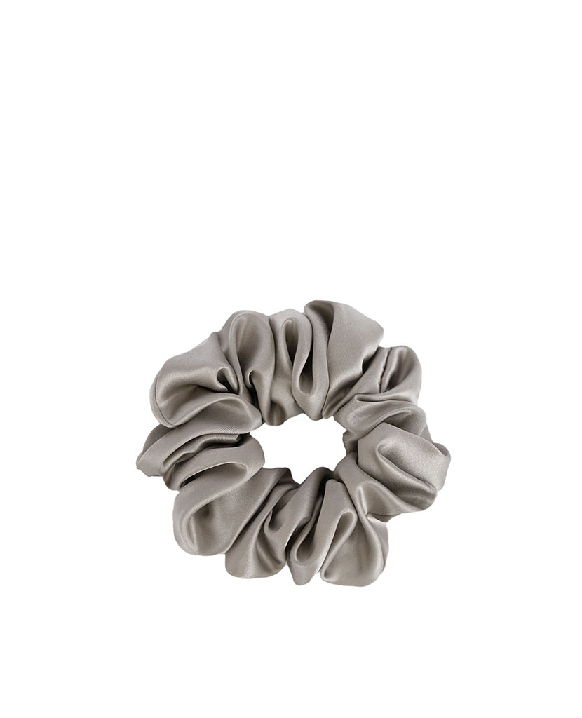 Silk Scrunchie Silver Grey