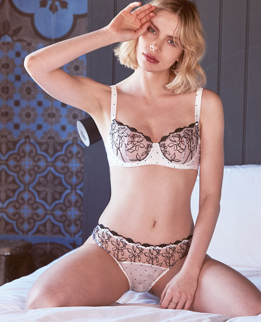 Polka Embroidered Balcony Bra