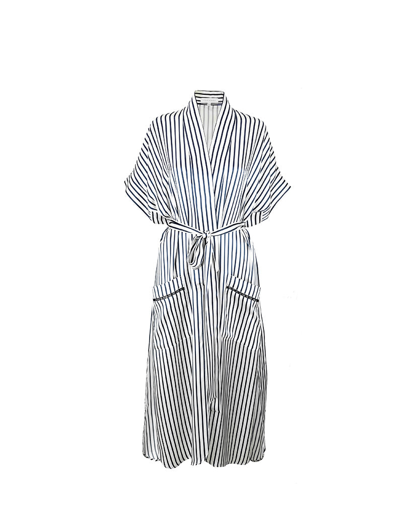 Regency Stripe Silk Robe