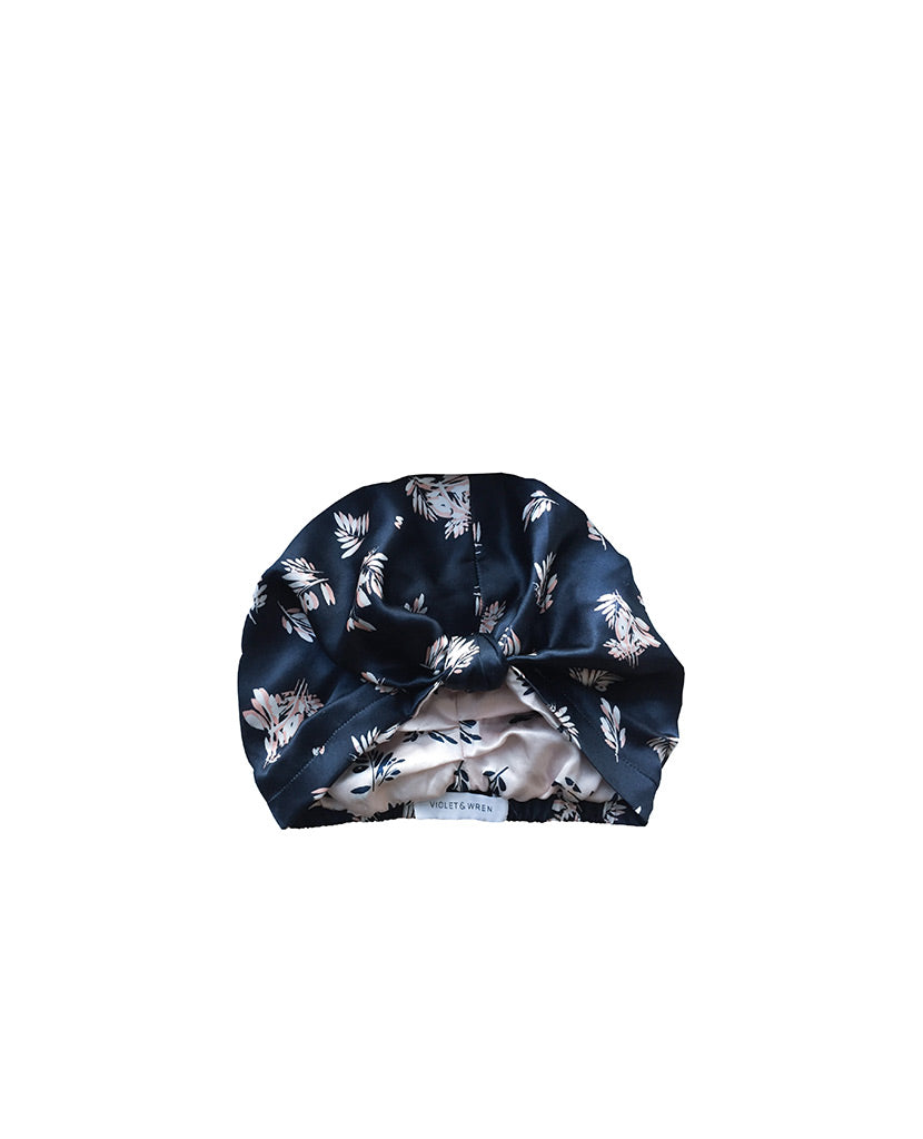 Indigo Fern Silk Turban