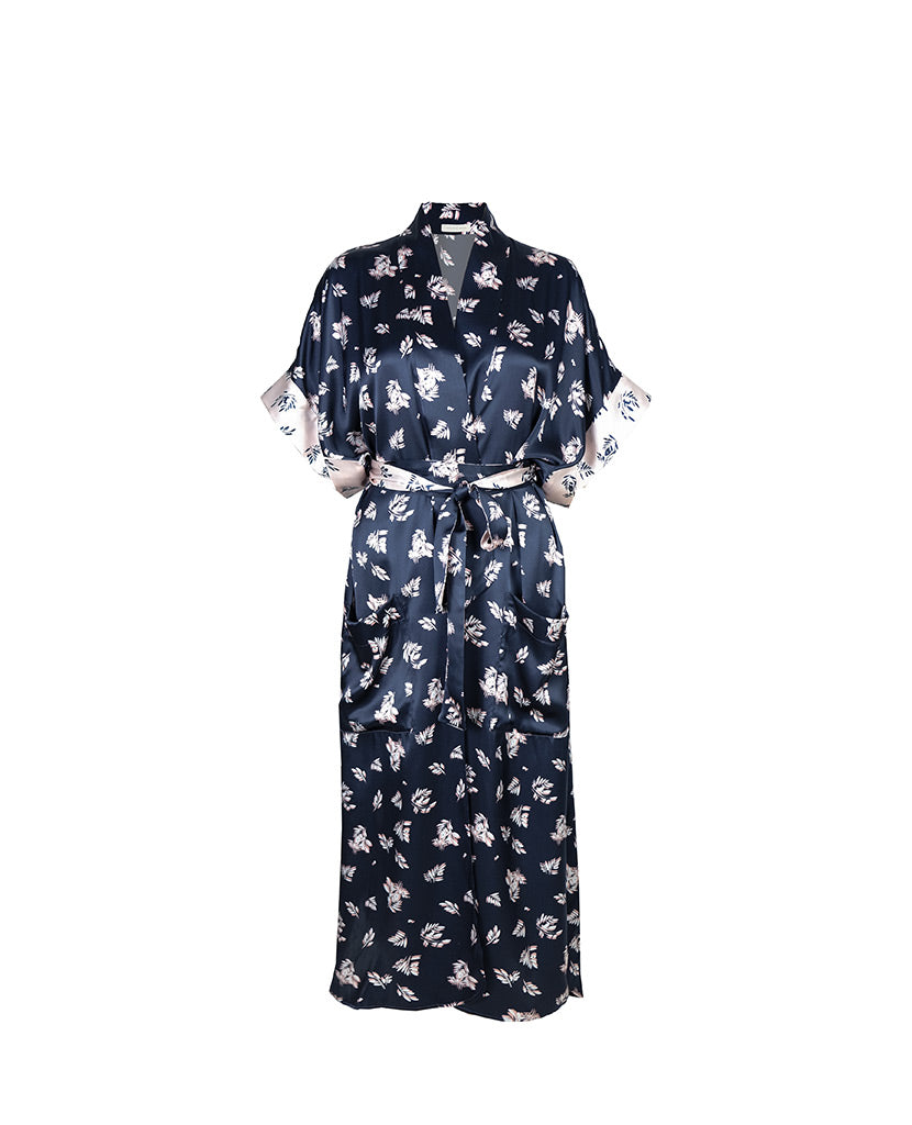 Indigo Fern Silk Robe