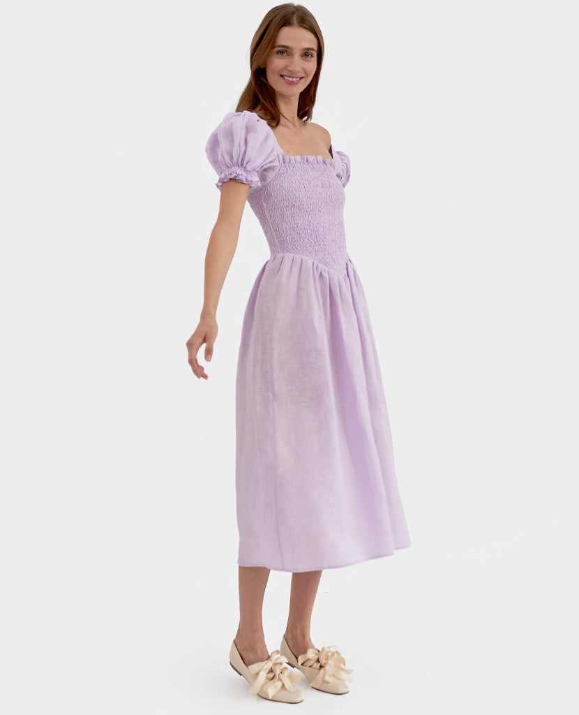 """Belle"" Linen Dress in Lavender"