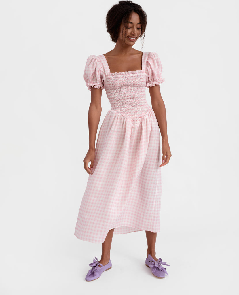 """Belle"" Linen Dress in Pink Vichy"