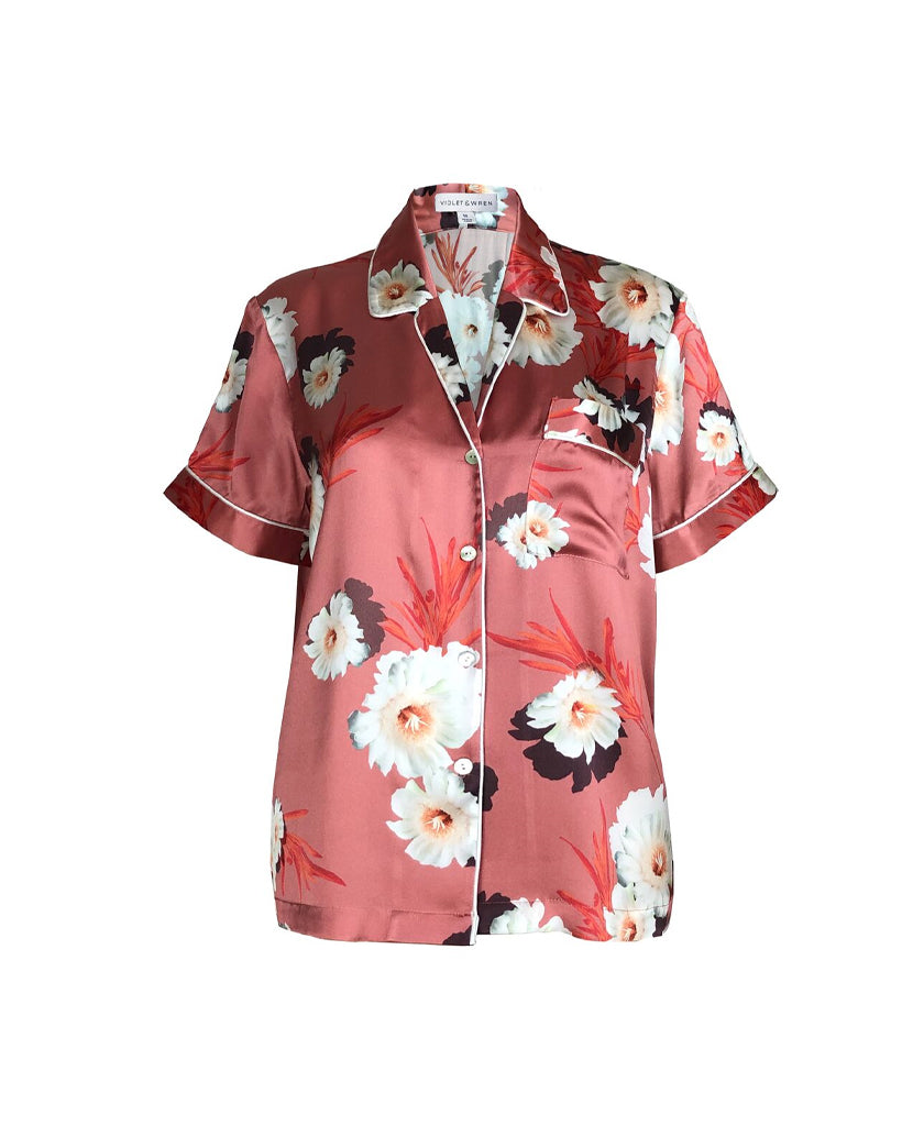 Silk Pyjama Shirt in Desert Bloom