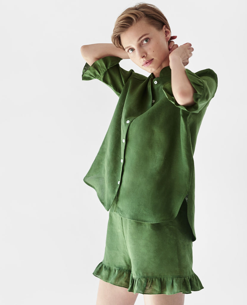 Linen Lounge Suit in Green