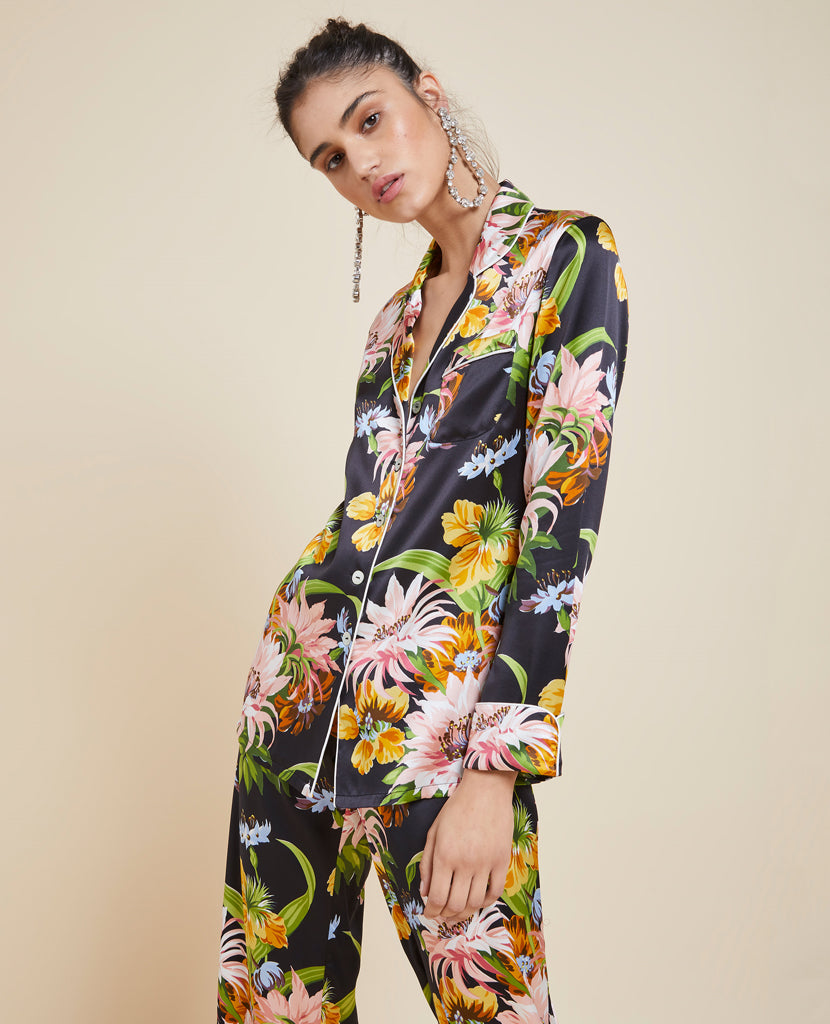 Lila Tropicana Silk Pyjamas