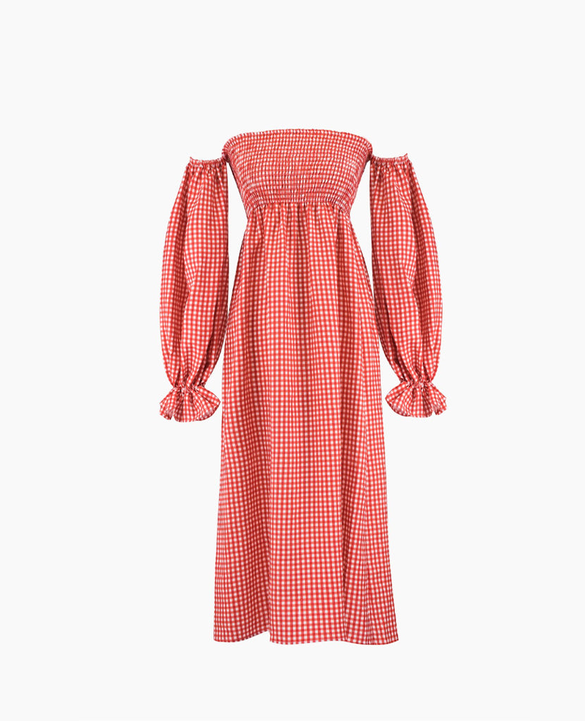 """Atlanta"" Linen Dress in Red Gingham"