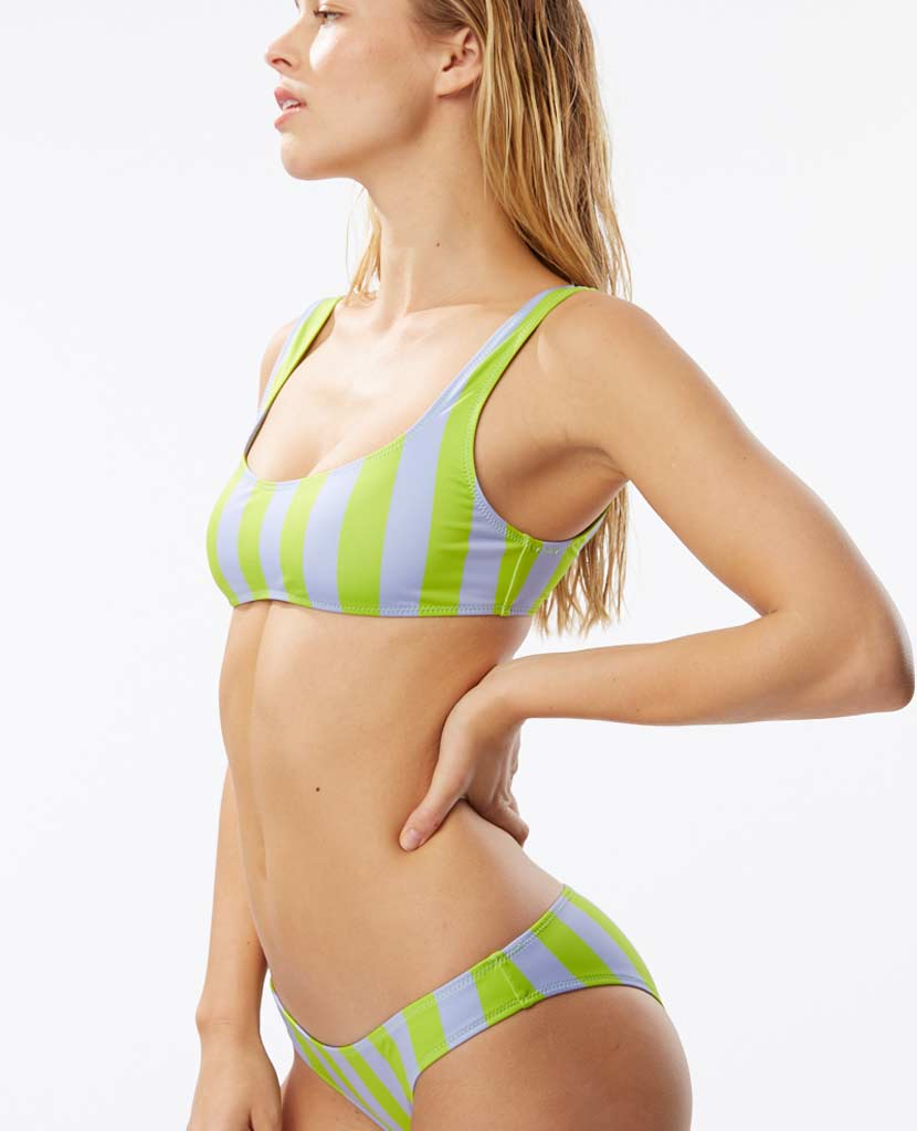 The Elle Top - Lavender Lime Stripe