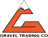 Orange G shaped like a mountain with text Gravel Trading Co underneath