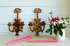 SORRY SOLD Cast Iron Wall Candle Sconces - Pair
