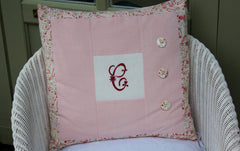 SORRY SOLD Pink Monogrammed Vintage Cushion