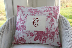 Vintage Monogrammed Toile Cushion