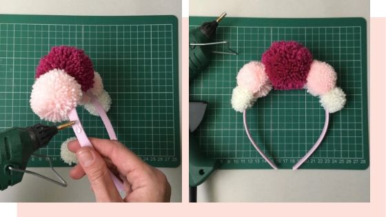 how to make a pom pom crown with a hot glue gun