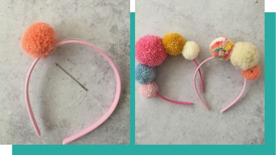 making a pom pom crown