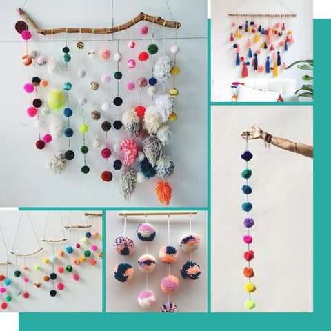 pom pom wall hanging inspiration