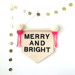 Merry and bright wall banner