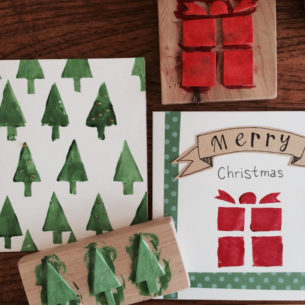 Block-printed Christmas Cards