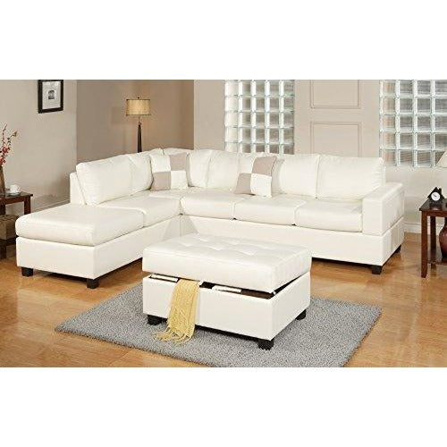 Soft touch Reversible Bonded Leather Match 3 Piece Sectional Sofa Set, (White, Brown, Espresso)- Online Furniture Store