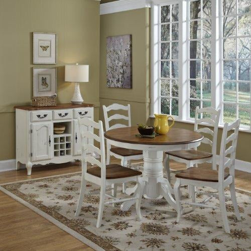 French Countryside 5 Piece Dining Set, (Blond Oak and Rubbed White)- Online Furniture Store