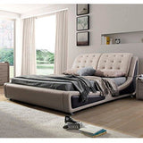 Crafted with a wooden frame bed and Upholstered, (Brown)