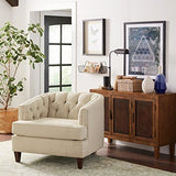 Vintage look chair leila tufted chair, Sandstone