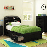 South Shore Furniture Lazer Captain Bed, Full, Black Onyx