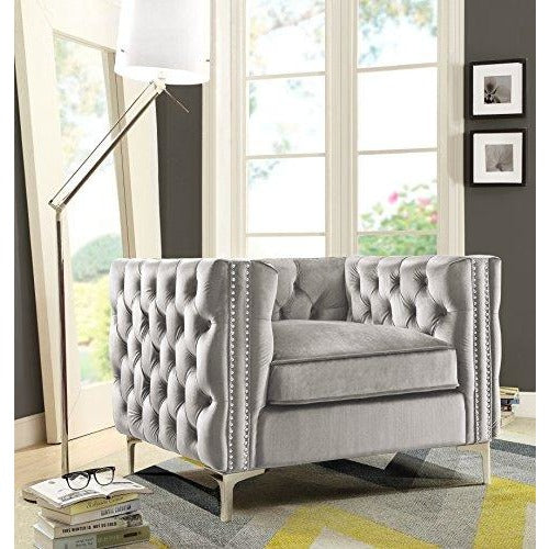 Contemporary Button Tufted with Silver Nailhead Trim Silvertone Club Chair- Online Furniture Store