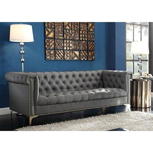Winston Modern Tufted Gold Nail Head Trim Grey PU Leather Sofa- Online Furniture Store