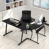 L-Shape Corner Table Workstation Home Office 3 Piece, Black