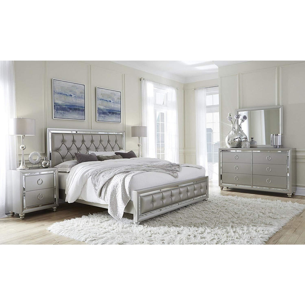 Tufted Bed Crystal embellished, (Silver)- Online Furniture Store