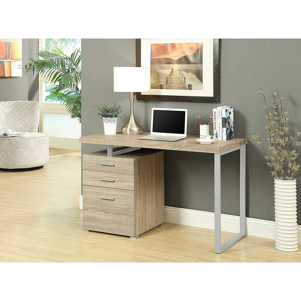 Contemporary White Writing Desk with File Drawer and Reversible Set-Up- Online Furniture Store