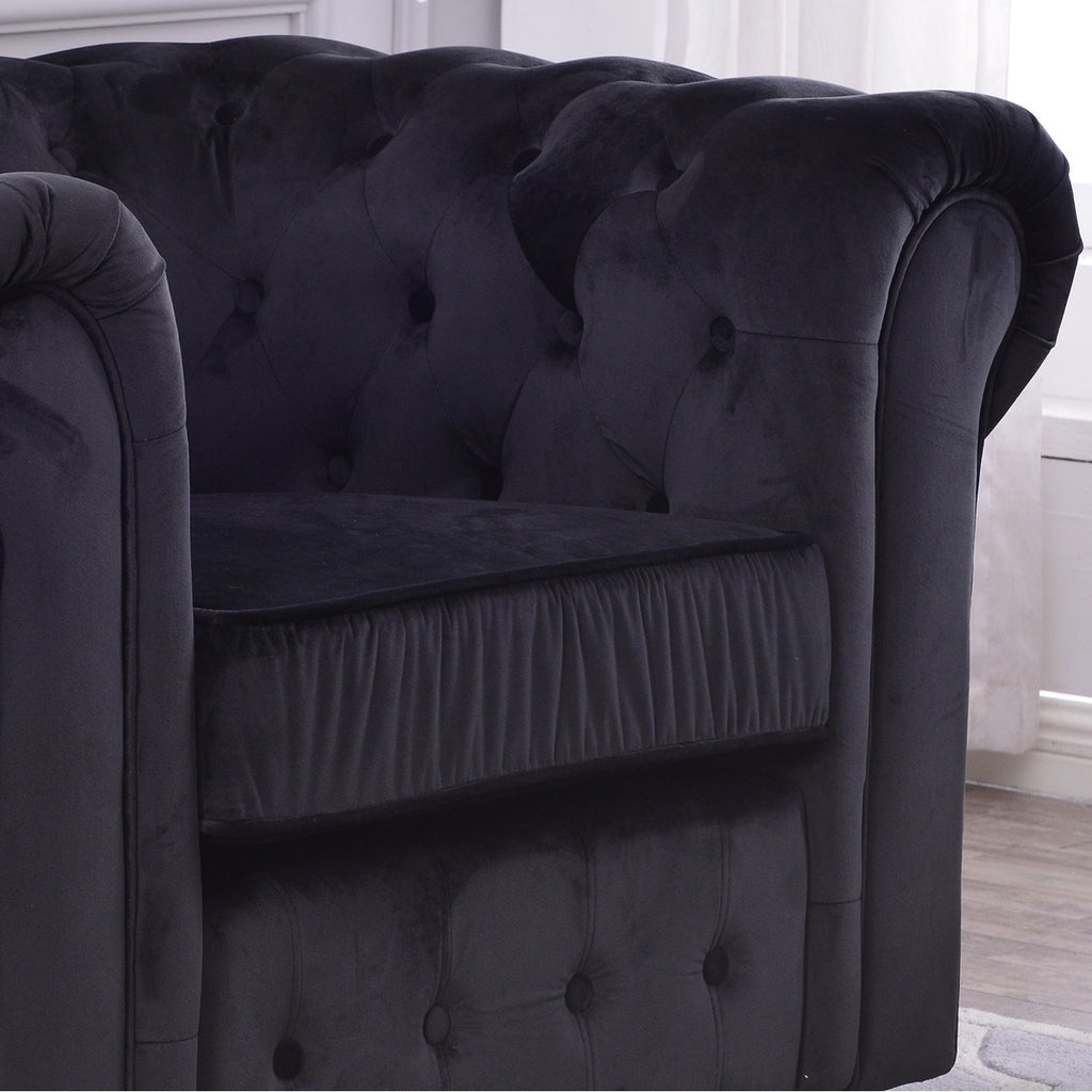 Classic Scroll Arm Large Velvet Living room Accent Chair- Online Furniture Store