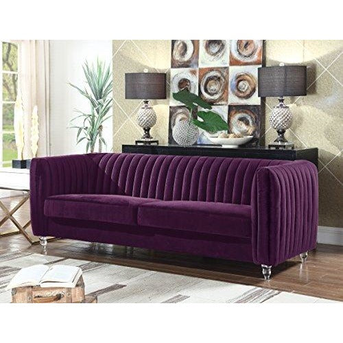 Kent Elegant Velvet Modern Contemporary Sofa, (Purple)- Online Furniture Store