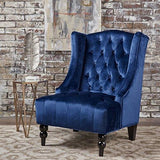 Tall Winged Tufted New Velvet Accent Chair