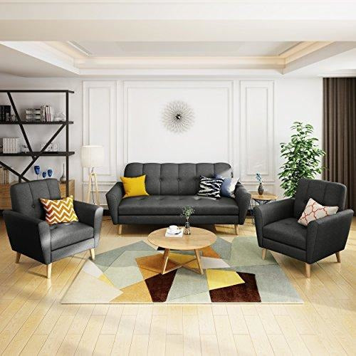 Sofa and Two Club Chairs Black Fabric Chat Set, (Black, Beige)- Online Furniture Store