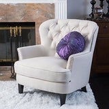 Tufted Button Fabric Club Chair with Studded Accents