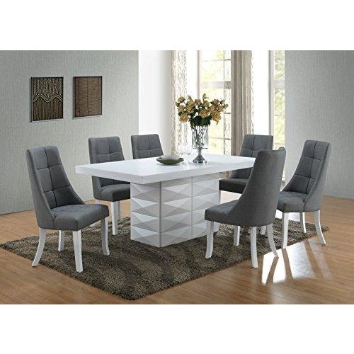 Kings Brand Milan 5 Piece White Modern Rectangle Table with Blue Grey Chairs- Online Furniture Store