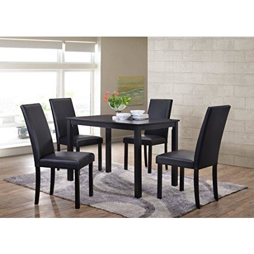 Kings Brand Wood Dining Dinette - Kitchen Table 4 Upholstered Parson Chairs- Online Furniture Store
