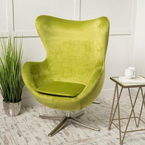 Jacobsen Style New Velvet Swivel Contour Egg Chair- Online Furniture Store
