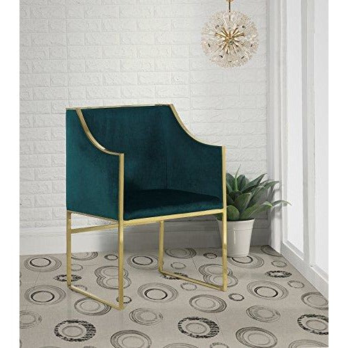 Rowan Contemporary Steel Frame Velvet Modern, Accent Chair, Green- Online Furniture Store